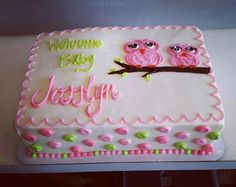 Simple owl baby shower quarter sheet cake. #buttercreamcakes #atxbakery #decoratormichelle
