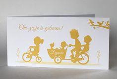 Geboortekaartje in silhouet  voor een vierde kindje. Meer kaartjes op http://www.jakima.nl