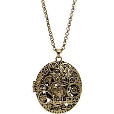 Steampunk Steam Age Locket Necklace (Gold) (100 MXN) ❤ liked on Polyvore featuring jewelry, necklaces, antique locket necklace, antique gold jewellery, gold necklaces, steampunk jewelry and antique necklace