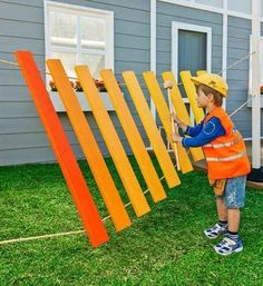 A great way to WOW kids at your Workshop of Wonders. A giant xylophone! Made with rope, Pine wood, and paint! Also perfect for Maker Fun Factory VBS 2017 Backyard Projects, Outdoor Projects, Diy Projects, Backyard Ideas, Project Ideas, Backyard Games, Maker Fun Factory Vbs, Better Homes And Gardens, Outdoor Fun