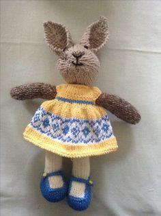 Rabbit no 10 dressed in yellow @ blue self pattern dress