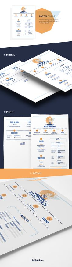 Timeless design suitable for all candidates who want to show their passion for nice graphics.  Its unique elements don't shock at very first glance yet the overall feeling from the resume makes this CV like no other.