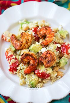Love this for Memorial Day cookout! It can be served cold! Spicy Grilled Shrimp with Quinoa Salad | tablefortwoblog.com