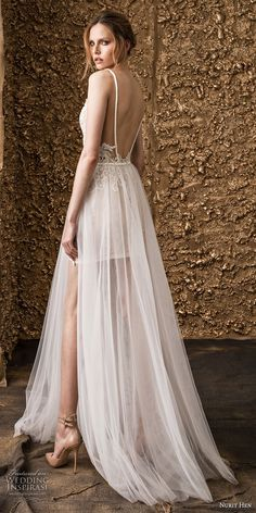 nurit hen 2018 bridal spaghetti strap deep v neck full embellishment modern romantic short wedding dress a line overskirt open back sweep train (16) bv -- Nurit Hen 2018 Wedding Dresses