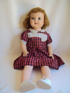 """VINTAGE 30"""" TALL SHIRLEY TEMPLE COMPOSITION SLEEPY EYES OPENED MOUTH DOLL"""