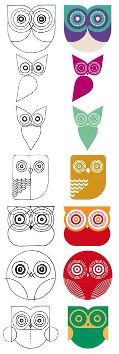 "I love these ""templates/ideas"" for painting owls...it an be difficult!"