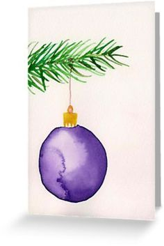 'Watercolor card ornament' Grußkarte by ArtLuver Another watercolor Christmas card. Watercolor Christmas Cards, Diy Christmas Cards, Xmas Cards, Diy Cards, Handmade Christmas, Christmas Crafts, Christmas Cards Drawing, Painted Christmas Cards, Free Cards