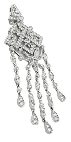 This is a lovely diamond 18k white gold necklace from the Art Deco period. The pendant of this incredible necklace is adorned with magnificent milgrain and open work design and approximately 2.10ct sparkling round cut diamonds. The color of the diamonds is F with VS1 clarity. The pendant measures 70mm by 24mm and weighs 11.1 grams. The pendant is stamped 18k 750 UCG. The chain in this pendant is sold separately.