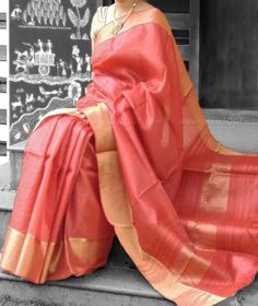 Elegant & Fine Tussar Silk Saree with woven borders