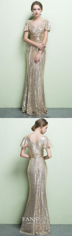 Gold Prom Dresses Long, Sheath Prom Dresses With Sleeves, V Neck Prom Dresses Sequin, Sexy Prom Dresses Open Back #FansFavs #golddresses #sequinsdress #dresswithsleeves