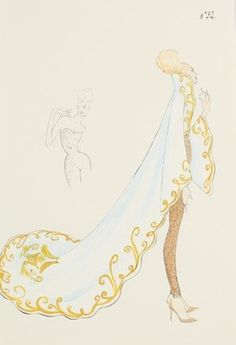 An Alexander McQueen fashion sketch for his first Givenchy haute couture collection, 'In search of the Golden Fleece', Spring-Summer, 1997, un-signed, no 32, worked in gouache and ink of a long trained coat with lavishly embroidered borders, sleeves and high collar, worn over a gold lace body suit