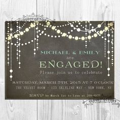 Chalkboard Engagement Party Invitation Whimsical by Cloud9Factory, $20.00