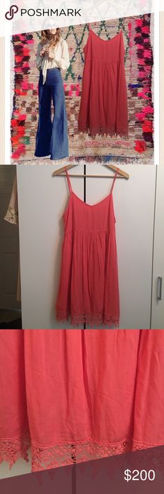 "FINAL CLEARANCEEntro Coral Babydoll Sundress Entro Coral Boho Babydoll Sundress. Adjustable spaghetti straps. Back zipper. Lined Rayon. Great shape! So adorable! Crochet trim at hemline. Very soft and flowy. Bust 32"", waist 30"", length approx 34"" depending on strap adjustment. Entro Dresses Mini"