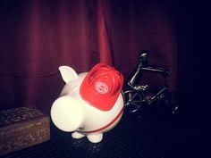 Cute firefighter piggy bank