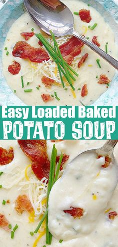 This Easy Loaded Baked Potato Soup is made with oven baked russet potatoes. It is pure comfort food in a bowl that your whole family will love.| Foodtastic Mom #potatosoup #potatosouprecipe #potatosoupeasy #loadedbakedpotatosoup via @foodtasticmom Baked Potato Oven, Loaded Baked Potato Soup, Russet Potatoes, Oven Baked, Quick Soup Recipes, Potato Recipes, Easy Dinner Recipes, Real Food Recipes