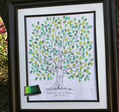 Hand drawn Wedding Guest book Fingerprint Tree, Guest book alternative, Hand drawn sketched wedding tree for 100-220 guests. $45.00, via Etsy.