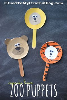 Cupcake Liner Zoo Puppets {Kid Craft}