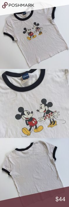 Vintage Disney Tee Super cute vintage ringer tee! Authentic Disney brand with Mickey and Minnie on the front. Tag says medium but it fits like a small. No holes or stains, but it is lightly faded because it's so old! If you're looking for brand new, this isn't for you. But if you're like me and love the look of a vintage tee for the perfect grunge outfit, this is it!    No trades No ️aypal No Merc ✅Posh Rules ✅Use Offer Button ✅Bundle for 15% off  Vintage Tops Tees - Short Sleeve