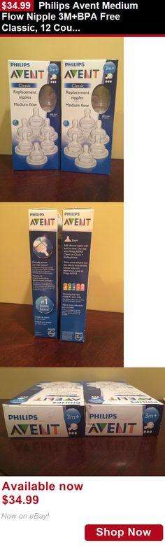 Bottle Nipples: Philips Avent Medium Flow Nipple 3M+Bpa Free Classic, 12 Count BUY IT NOW ONLY: $34.99