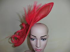 Red FascinatorRed Wedding HatRed Ascot HatRed Occasion Hat