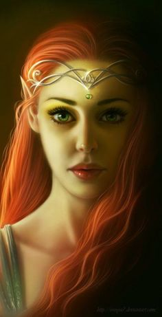 BEAUTIFUL ELF WITH RED HAIR AND GREEN EYES!