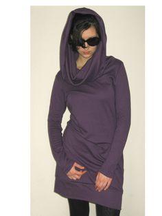 Aubergine  tunic purple  tunic  dress  cowlneck  long sleeves  cotton jersey.. $68.00, via Etsy.