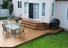A Patio Deck Design will add beauty to your home. Creating a patio deck design is an investment that will […] Patio Steps, Patio Deck Designs, Patio Design, Garden Design, Platform Deck, Sloped Garden, Brick Patios, Building A Deck, Backyard Patio