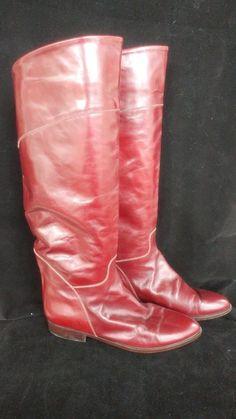 Knee High Boots ITALY Vero Cuoio Red 7 Womens Genuine Leather Echt Leder     FE #VeroCuoio #KneeHighBoots