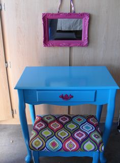 Girls vanity redo: lamp table. I'd switch out the square mirror to an oval mirror.