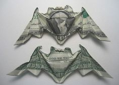 Money Origami bat Designed by Michael G. Folded by Phillip West. In the run up to Halloween this money origami bat is essential. Folding Money, Origami Folding, Paper Folding, Origami Paper, Origami Gifts, Origami Boxes, Origami Ideas, Origami Instructions, Origami Tutorial