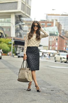 polka dots and embellishments sand color blouse handbag black skirt. Summer formal and elegant clothing women apparel closet ideas style ladies outfit fashion Work Fashion, Modest Fashion, Fashion Outfits, Womens Fashion, Work Attire, Office Outfits, Dress To Impress, Style Me, Pink Style