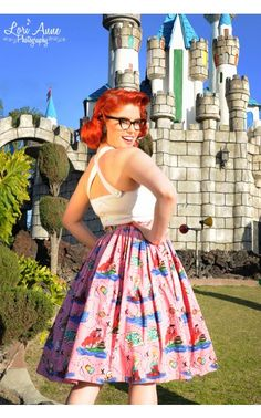 Jenny Gathered Full Skirt in Neverland Print - My Vintage Valentine - Collections | Pinup Girl Clothing