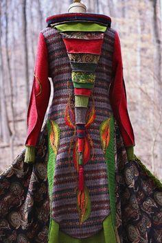 Patchwork SWEATER COAT Woodland pixie style with door amberstudios