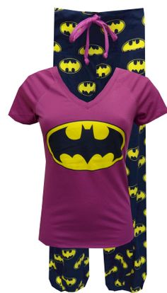 DC Comics Batgirl Pajama Set  Calling all Batgirls...these are the jammies you have been waiting for! This pajama features a classic logo design on a purple v-neck top. The pant has a wide waistband with a drawstring tie and is capri length with elasticized bottom edge. Junior cut. Totally awesome! $30.00