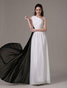 Eine Schulter weißen und schwarzen plissierten Chiffon Abendkleid