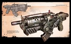 Gears of War 2: Concept art of the new Hammerburst rifle.    (giantbomb. 2008)