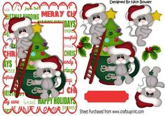 Little mice in santa hats with christmas tree on Craftsuprint - Add To Basket!