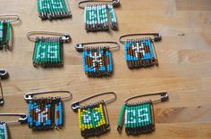 safety pins and seed beads