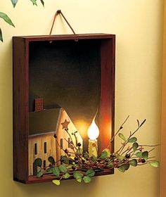"Add a little touch of country to your home with a Lighted House Candle Box. A wooden tray holds an electric ""candle"" that is trimmed with faux greenery and berries. Unique Candles, Home Candles, Diy Candles, Primitive Crafts, Country Primitive, Wood Crafts, Decor Crafts, Home Decor, Country Crafts"