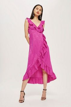 A seriously hot pink jacquard ruffle wrap midi dress, creating a truly feminine look. Mothers Day Dresses, Hot Pink, Shop Now, Topshop, Girly, Feminine, Bride, Formal Dresses, Shopping