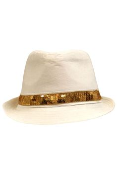 Structured Fedora With Sequin Hat Band