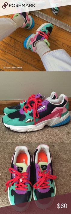 New Womens adidas originals Falcon M Neon pink color Metallic Gold Luxury Designer Sneakers Purple Dadday Running Shoes