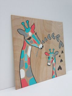 Hand painted Aqua and Coral Giraffe Nursery Art by SweetBananasArt, $40.00