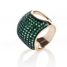 22ct Gold Vermeil Micro pave Cushion Ring - Emerald Green Zircon