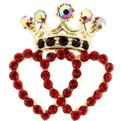 This brooch showcases a pair of open heart designs adorned with round-cut red crystals and completed by a crown design with additional crystals in black and …