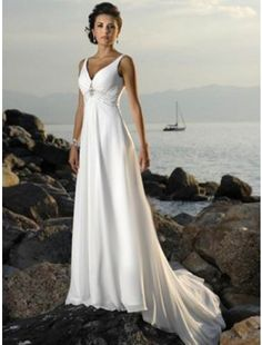 Elegant A Line V-neck Chapel Train Chiffon Beach Wedding Dresses
