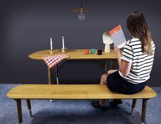 Table et banc Hepburn - Mise en situation - Plateau et structure en chêne massif Français, huile naturelle appliquée à la main - Design de Reine Mère