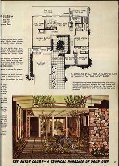 Modern Courtyard, Courtyard House Plans, Courtyard Design, Modern Floor Plans, House Floor Plans, Midcentury Modern House Plans, Frank Loyd Wright Houses, House Plans With Pictures, Vintage House Plans