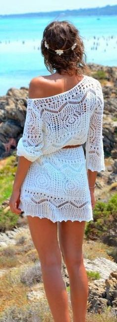 Boho chic crochet modern hippie mini dress or beach bathing suit cover up. #summer