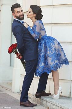 A-line Scoop Knee-Length Prom Dress, Tulle Long Sleeves,Royal Blue Party Homecoming Dress with Appliques,134